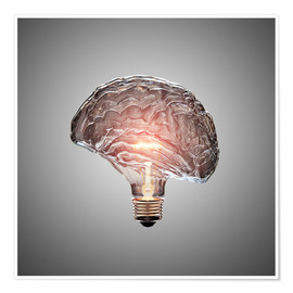 Poster Premium Conceptual light bulb brain illustrated