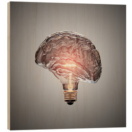 Stampa su legno  Conceptual light bulb brain illustrated - Johan Swanepoel