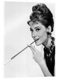 Vetro acrilico  Audrey Hepburn with cigarette holder