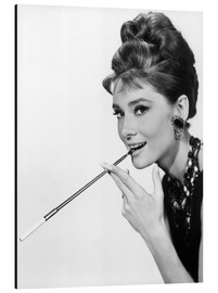Alluminio Dibond  Audrey Hepburn with cigarette holder