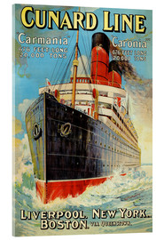 Stampa su vetro acrilico  Cunard Line - Liverpool, New York, Boston - Edward Wright