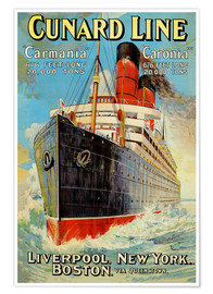 Poster Cunard Line - Liverpool, New York, Boston