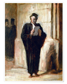Poster Premium  Reading lawyer. - Honoré Daumier