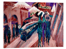 Stampa su vetro acrilico  Leipziger Strasse with electric train - Ernst Ludwig Kirchner