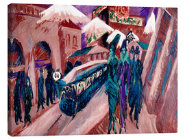 Stampa su tela  Leipziger Strasse with electric train - Ernst Ludwig Kirchner