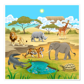 Poster Premium  Animali africani nella savana - Kidz Collection