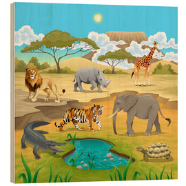 Stampa su legno  African animals in a savannah - Kidz Collection