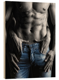Legno  muscular man and female hands