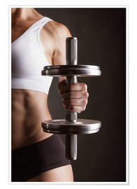 Poster Premium  Sportswoman with dumbbell