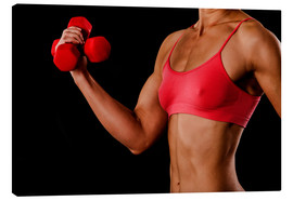 Tela  Fitness woman with dumbbells