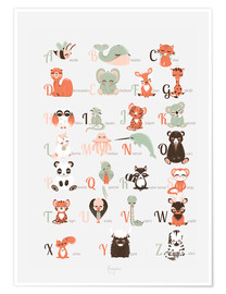 Poster Premium  ABC degli animali in francese - Kanzilue