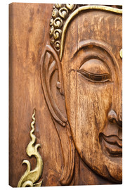 Stampa su tela  Wood face of the Buddha