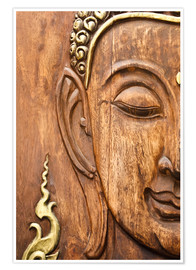 Poster Premium  Wood face of the Buddha