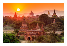 Poster  Temples of Bagan at sunset