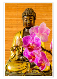 Poster Premium  Buddha with orchid