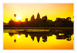 Poster Premium Tramonto a Angkor Wat in Cambogia