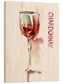 Stampa su legno  A glass of Chardonnay