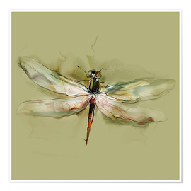 Poster  Dragonfly in watercolor