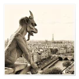 Poster Premium  Gargoyle over Paris