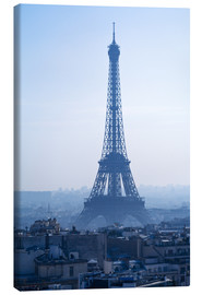 Stampa su tela  Eiffel Tower on blue spring morning