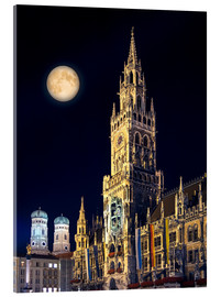 Vetro acrilico  Night scene from Munich Town Hall