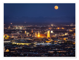 Poster Premium  Munich Skyline with yellow full moon