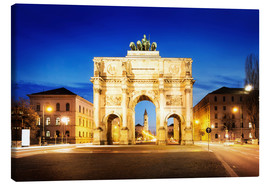 Stampa su tela  Victory Arch in Munich at night