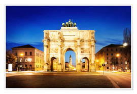 Poster Premium  Victory Arch in Munich at night