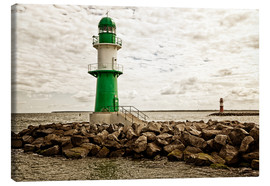 Stampa su tela  Green and red lighthouse at the harbor entrance of Warnemünde