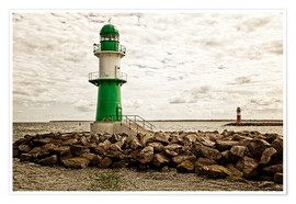 Poster  Green and red lighthouse at the harbor entrance of Warnemünde