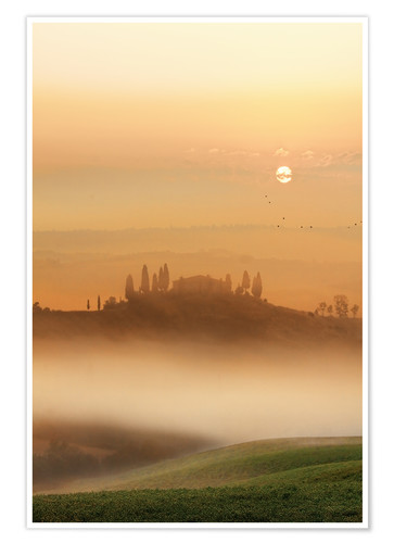 Poster Premium Fog in Tuscany