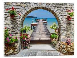 Stampa su vetro acrilico  Ocean view through a stone arch