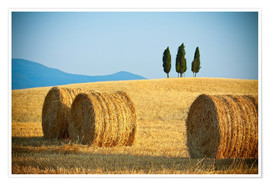 Poster Premium Tuscany landscape with straw bales