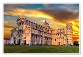 Poster Premium Pisa in the sunset
