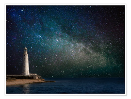 Poster Premium  Lighthouse in starlight