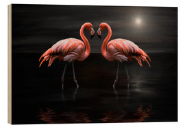 Stampa su legno  Flamingos at night - Heike Langenkamp