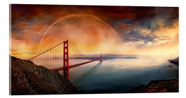 Stampa su vetro acrilico  Frisco Golden Gate Rainbow - Michael Rucker