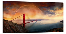 Stampa su tela  Frisco Golden Gate Rainbow - Michael Rucker