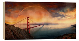Stampa su legno  Frisco Golden Gate Rainbow - Michael Rucker