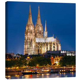 Stampa su tela  Night view of Cologne Cathedral