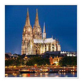 Poster Premium  Night view of Cologne Cathedral