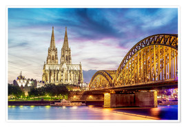 Poster  Lighted Cathedral in Cologne with Rhine and Bridge