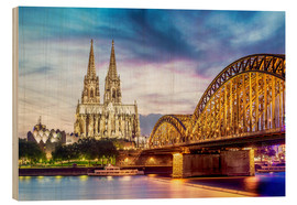 Legno  Lighted Cathedral in Cologne with Rhine and Bridge