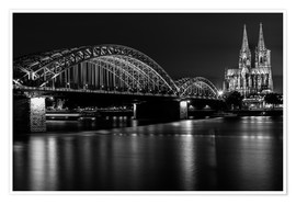 Poster Premium  Cologne Cathedral and bridge
