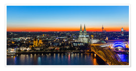 Poster Premium  Colorful Cologne skyline at night