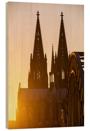Stampa su legno  Sunset behind the Cologne Cathedral