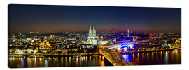 Stampa su tela  A panoramic view of cologne at night