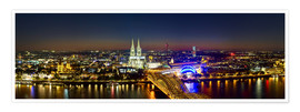 Poster Premium  A panoramic view of cologne at night