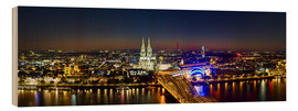 Stampa su legno  A panoramic view of cologne at night