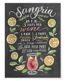 Poster Premium  Ricetta Sangria (in inglese) - Lily & Val